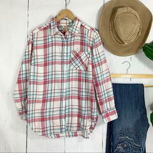 Pink, Turquoise, & Gray Plaid Button down, Medium